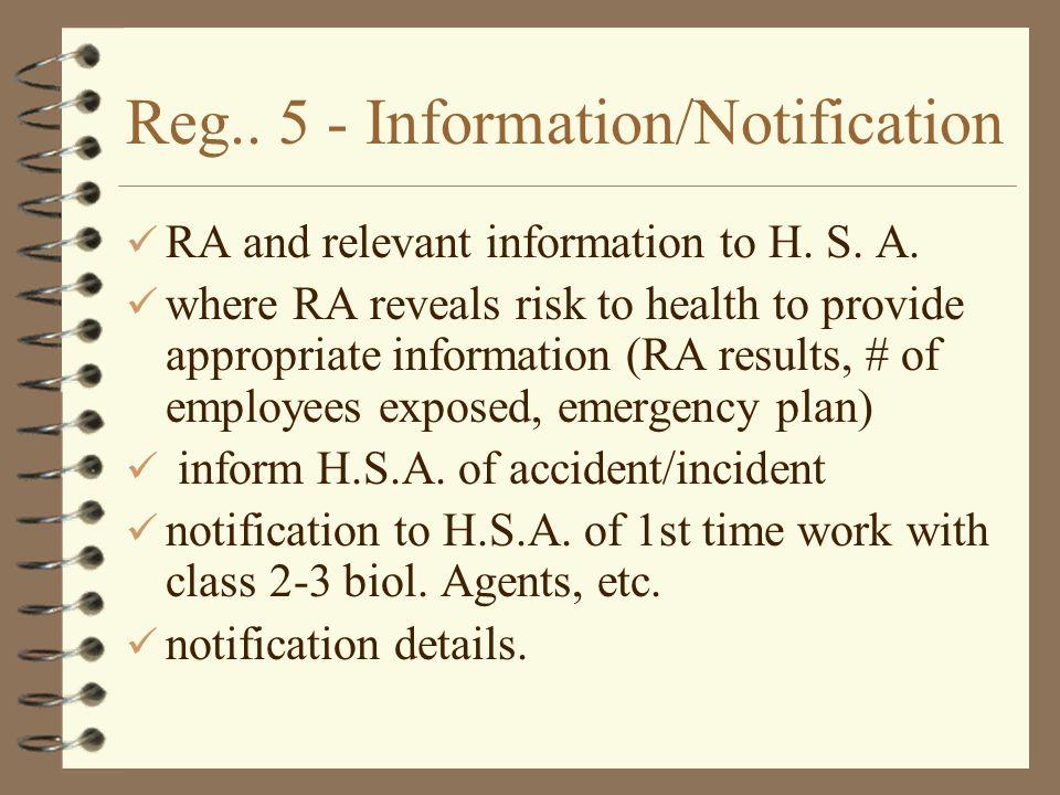 Reg.. 5 - Information/Notification