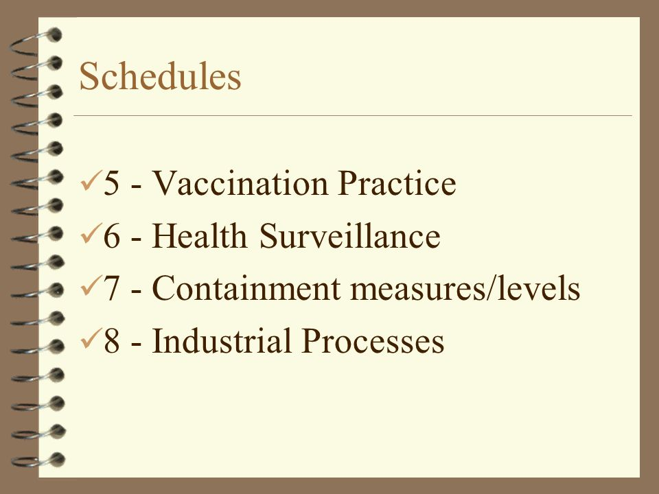 Schedules 5 - Vaccination Practice 6 - Health Surveillance