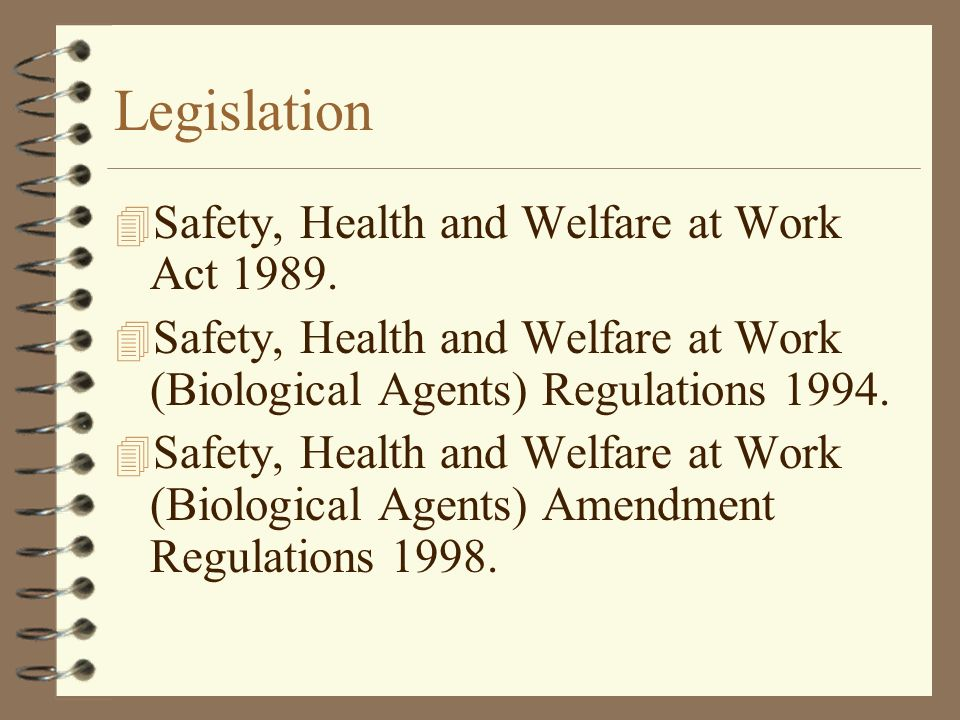 Legislation Safety, Health and Welfare at Work Act 1989.