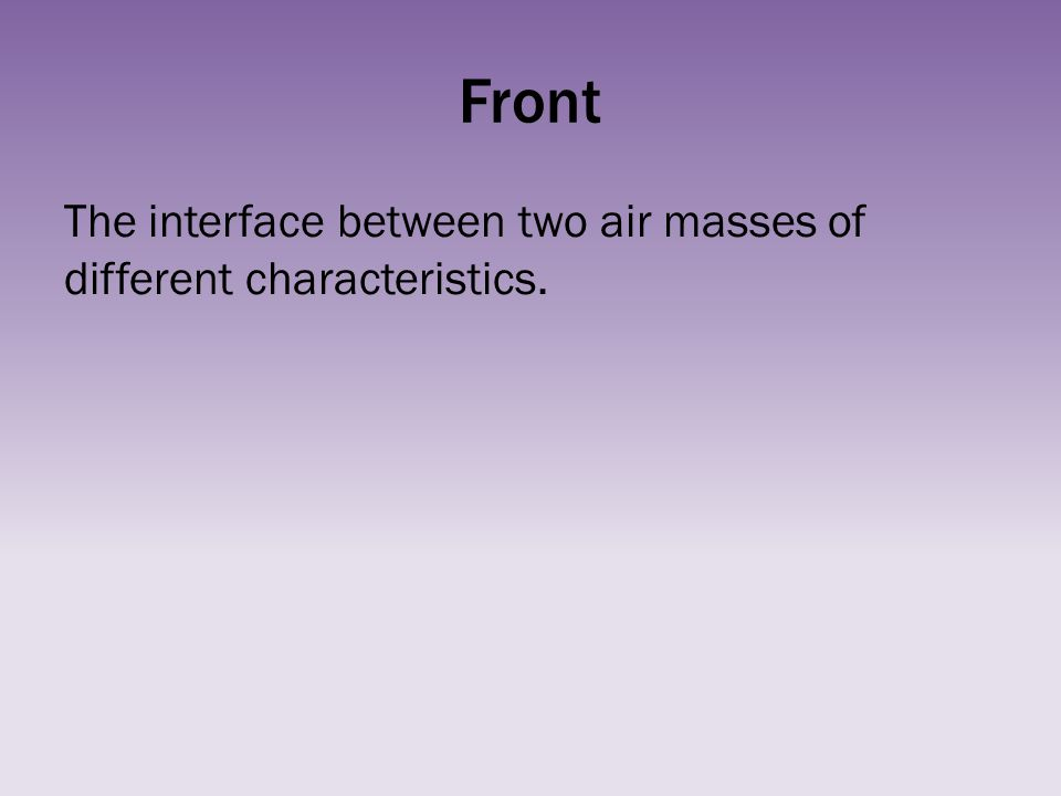 Front The interface between two air masses of different characteristics.