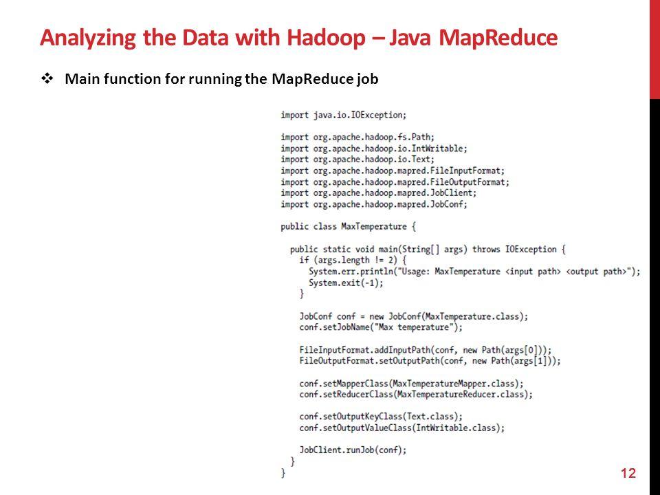 Analyzing the Data with Hadoop – Java MapReduce