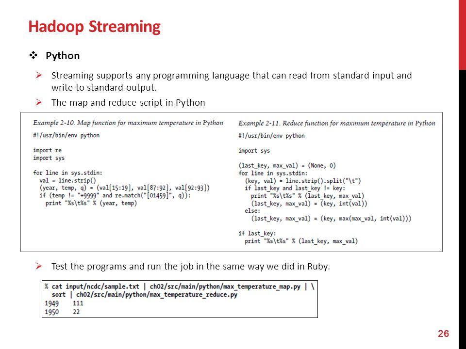 Hadoop Streaming Python
