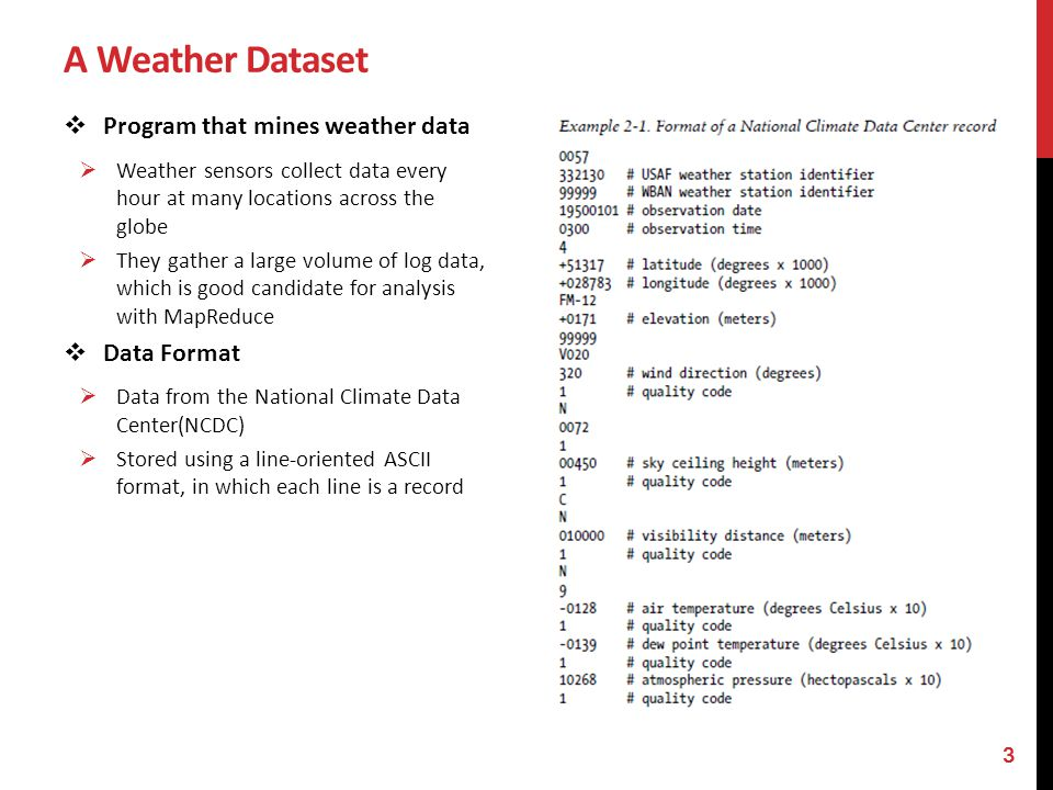 A Weather Dataset Program that mines weather data Data Format