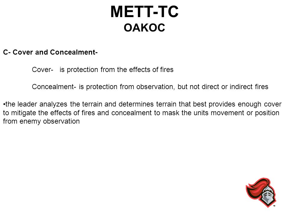 METT-TC OAKOC C- Cover and Concealment-