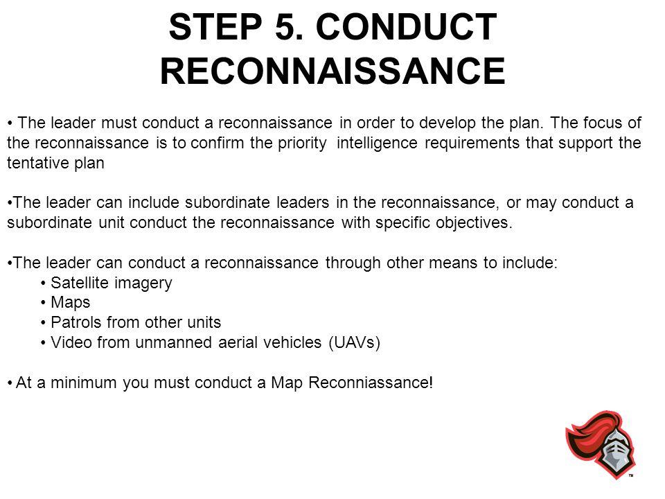 STEP 5. CONDUCT RECONNAISSANCE