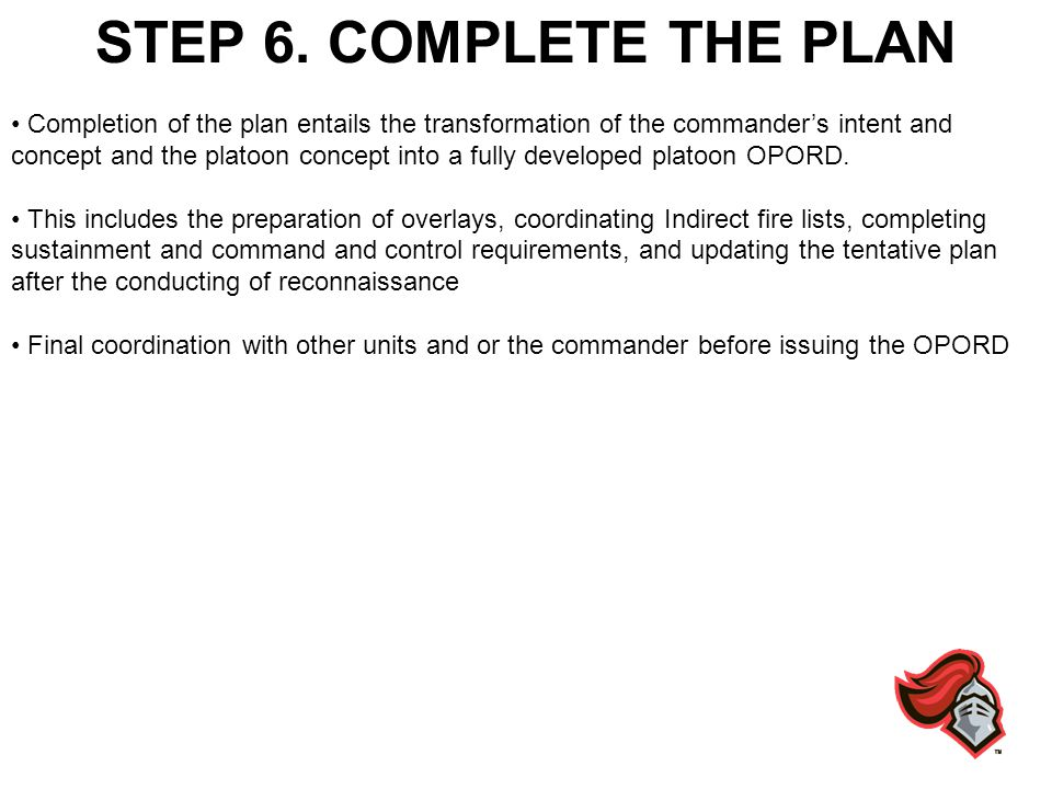 STEP 6. COMPLETE THE PLAN