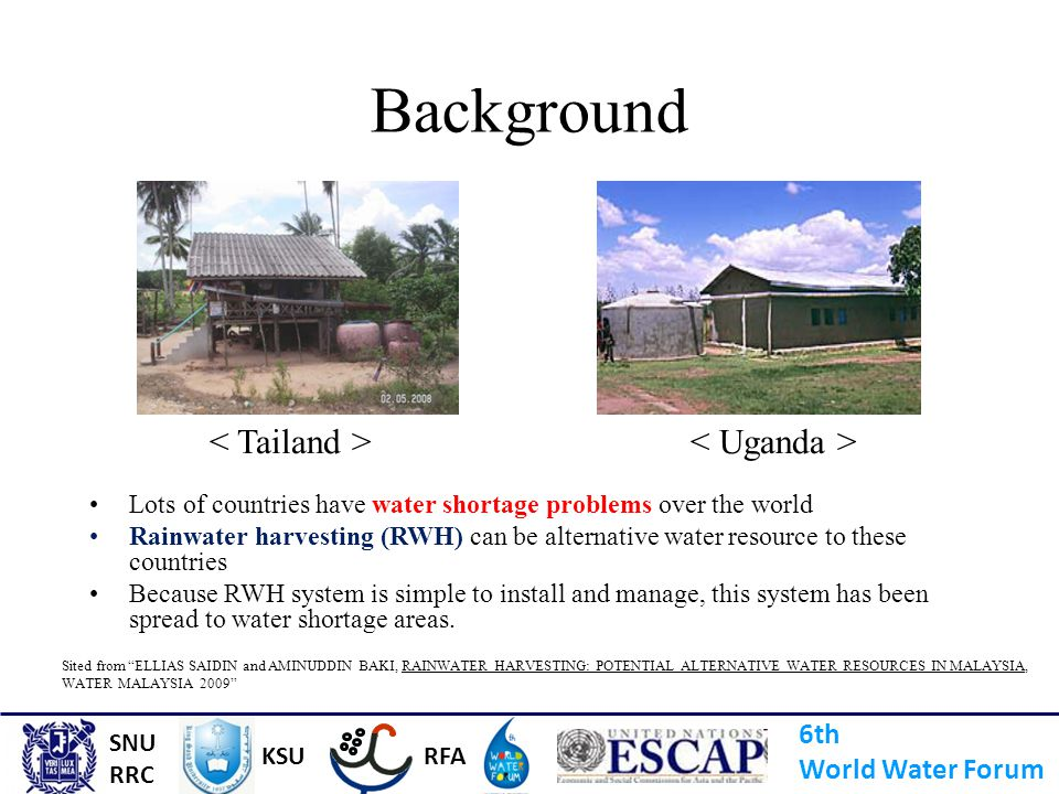 Background < Tailand > < Uganda > 6th World Water Forum