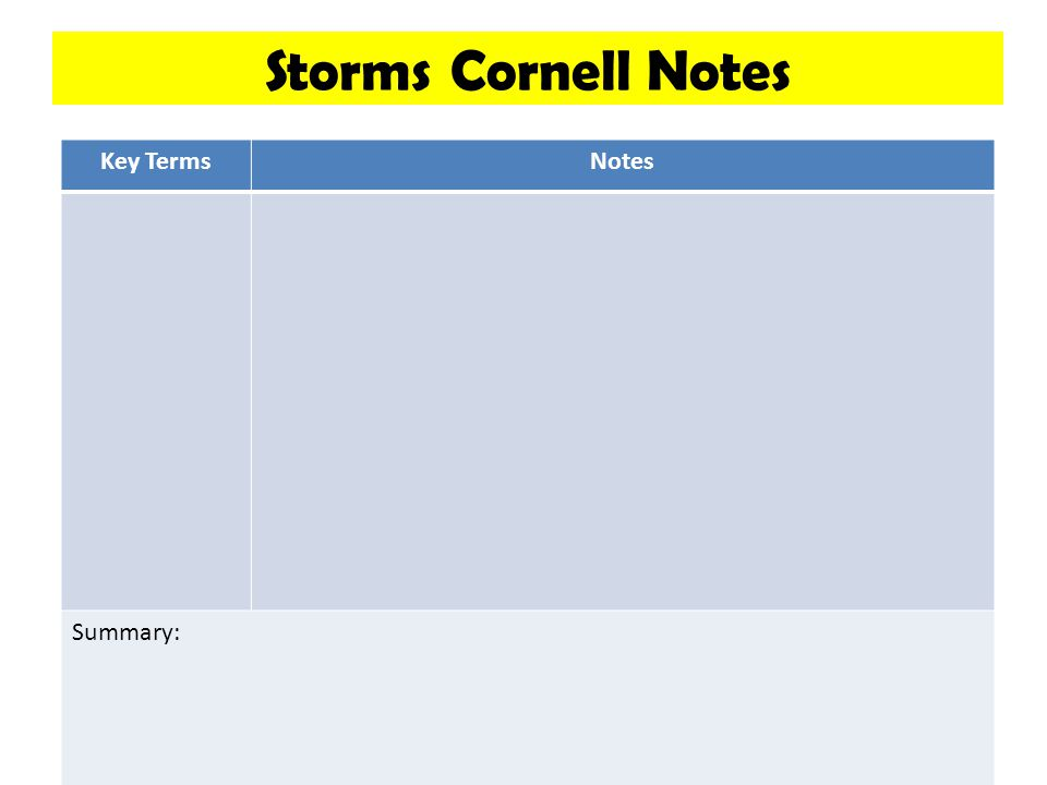 Storms Cornell Notes Key Terms Notes Summary: