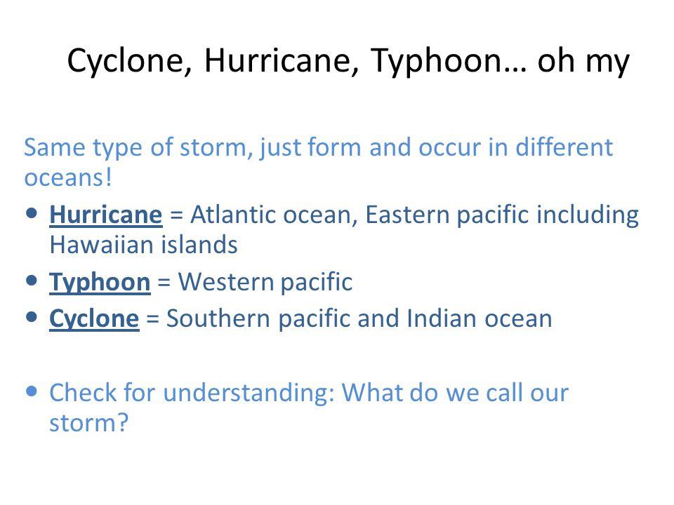 Cyclone, Hurricane, Typhoon… oh my