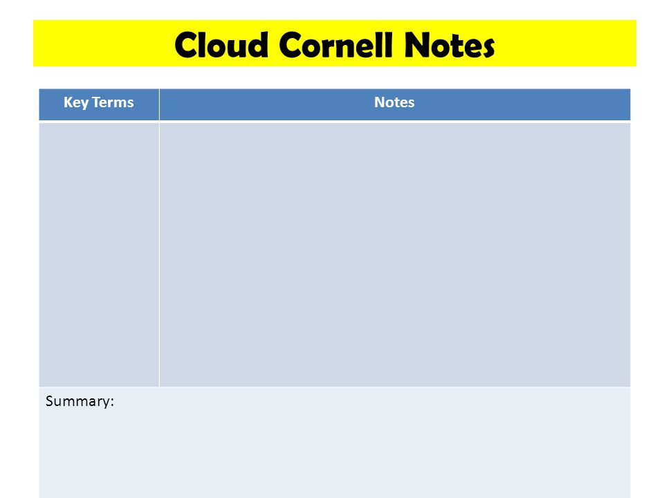 Cloud Cornell Notes Key Terms Notes Summary: