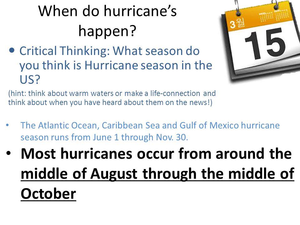 When do hurricane's happen