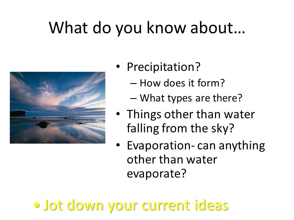What do you know about… Jot down your current ideas Precipitation
