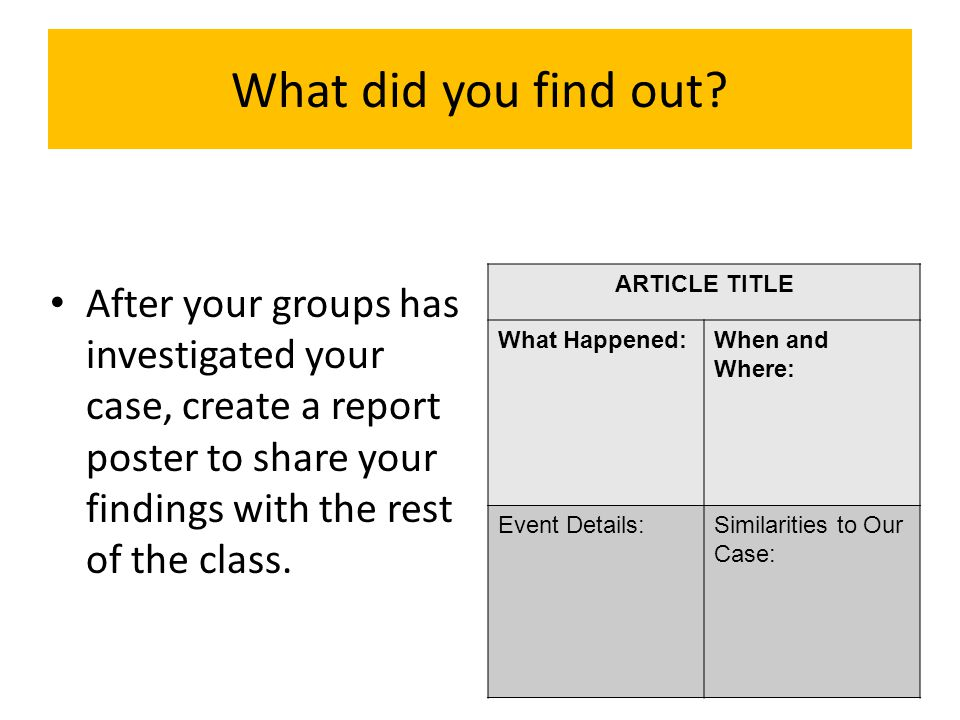 What did you find out ARTICLE TITLE. What Happened: When and Where: Event Details: Similarities to Our Case: