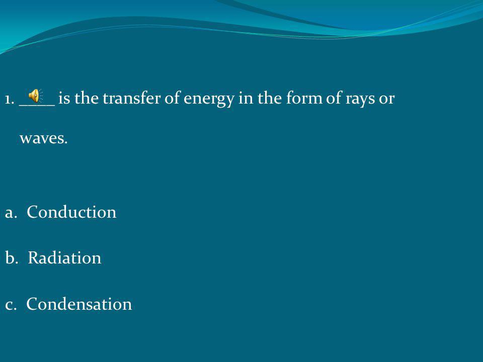 1. ____ is the transfer of energy in the form of rays or waves. a