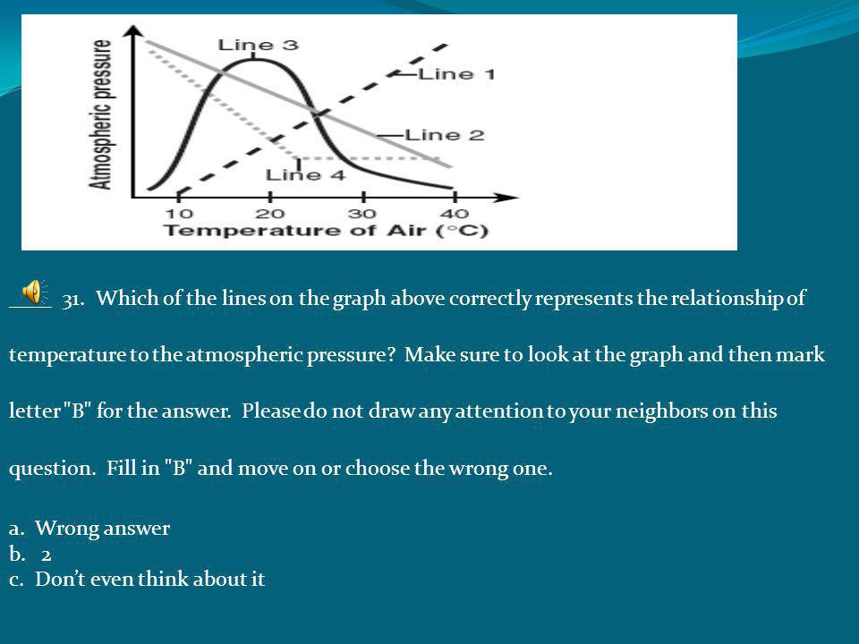 ____ 31. Which of the lines on the graph above correctly represents the relationship of temperature to the atmospheric pressure Make sure to look at the graph and then mark letter B for the answer. Please do not draw any attention to your neighbors on this question. Fill in B and move on or choose the wrong one.