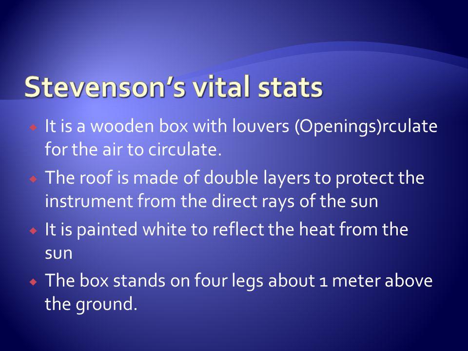 Stevenson's vital stats