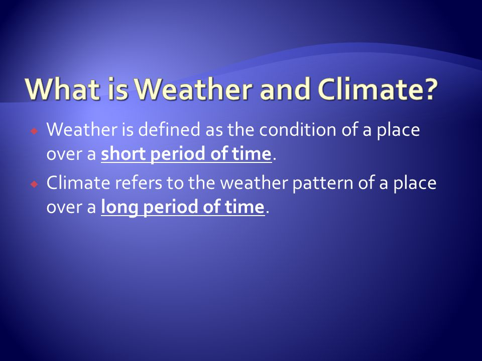 What is Weather and Climate