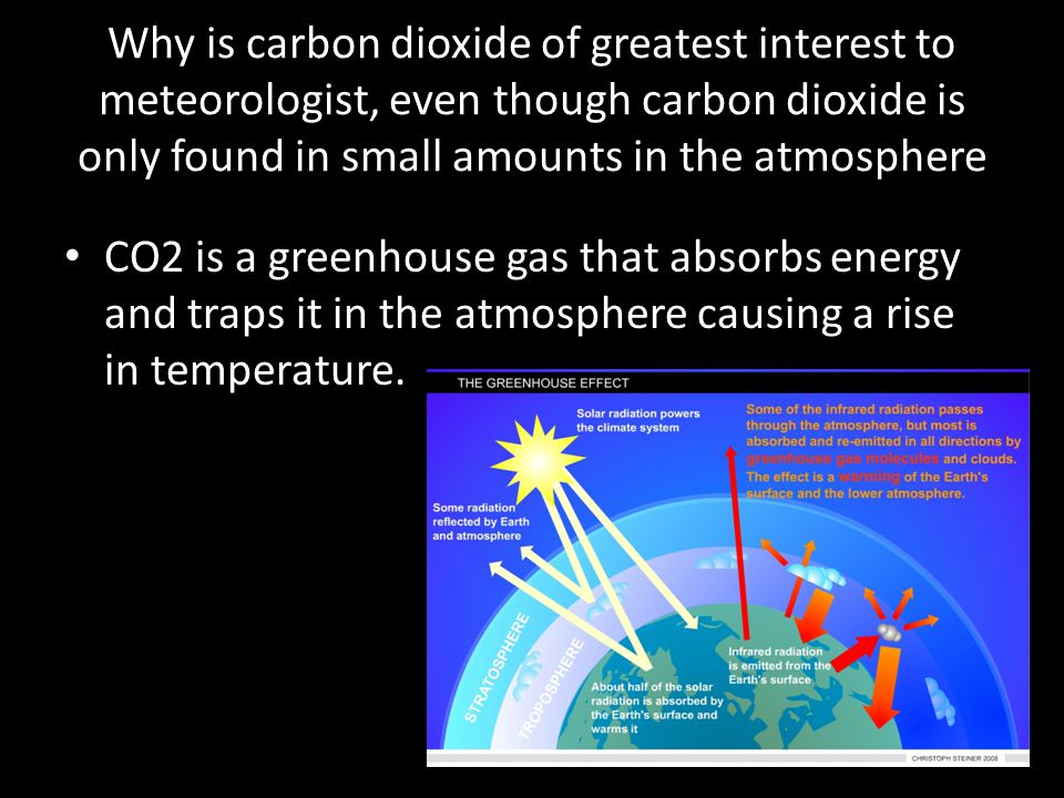 Why is carbon dioxide of greatest interest to meteorologist, even though carbon dioxide is only found in small amounts in the atmosphere