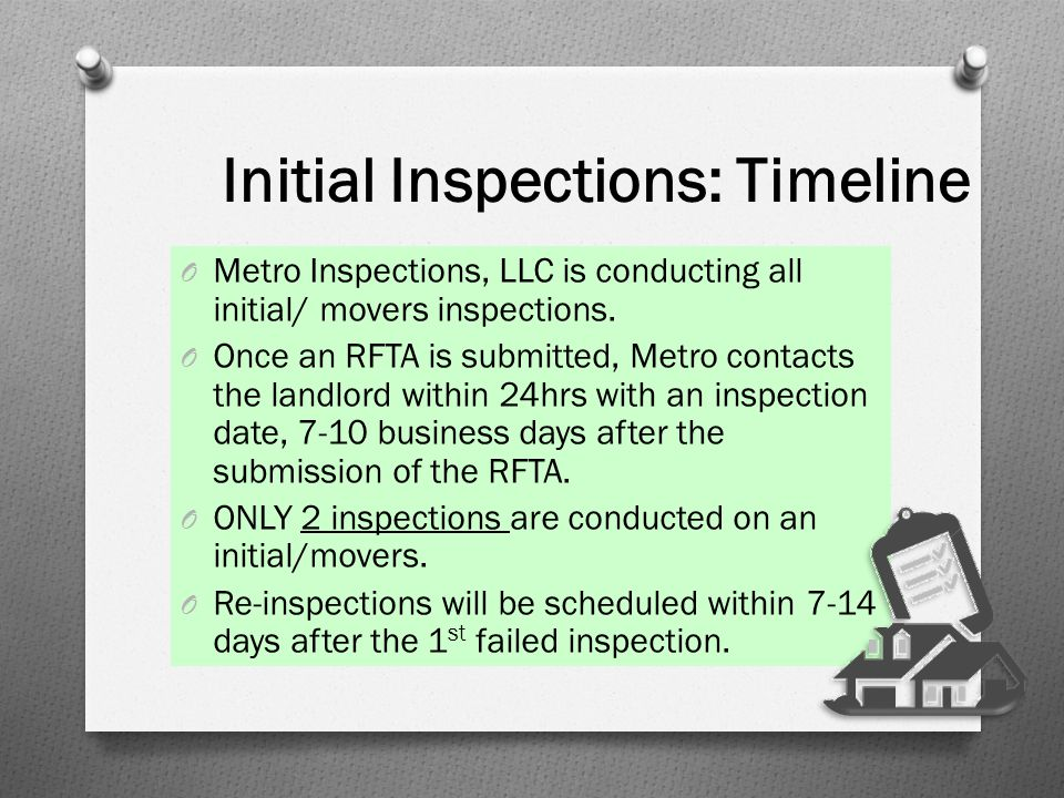 Initial Inspections: Timeline