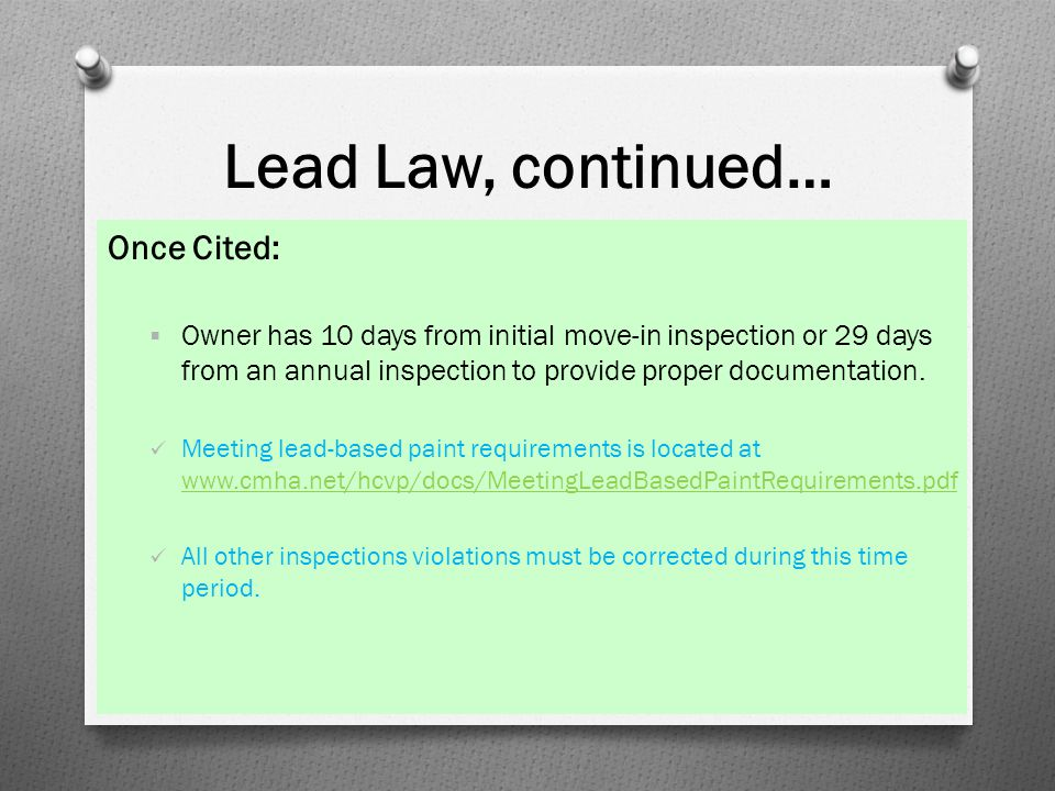 Lead Law, continued… Once Cited:
