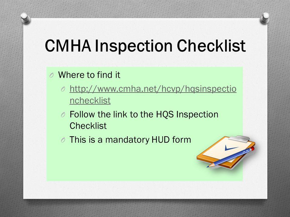 CMHA Inspection Checklist
