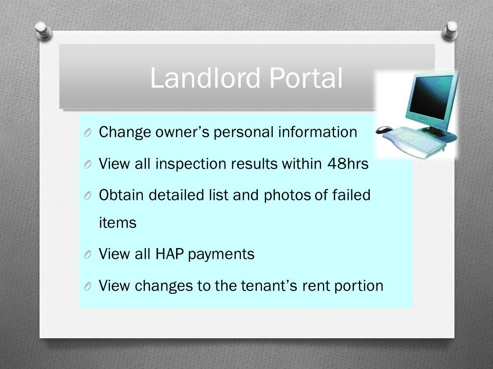 Landlord Portal Change owner's personal information
