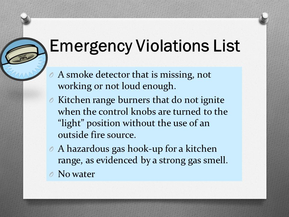 Emergency Violations List