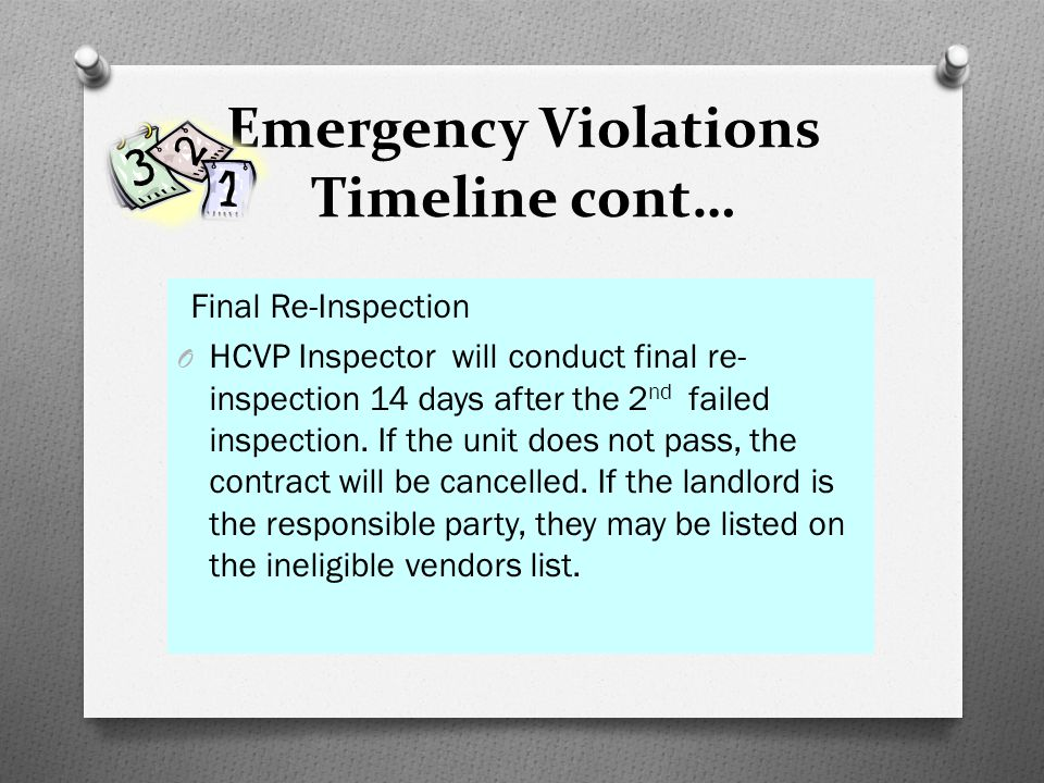 Emergency Violations Timeline cont…