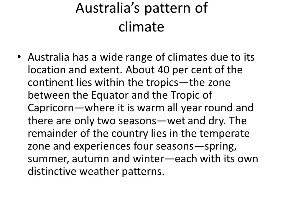 Australia's pattern of climate