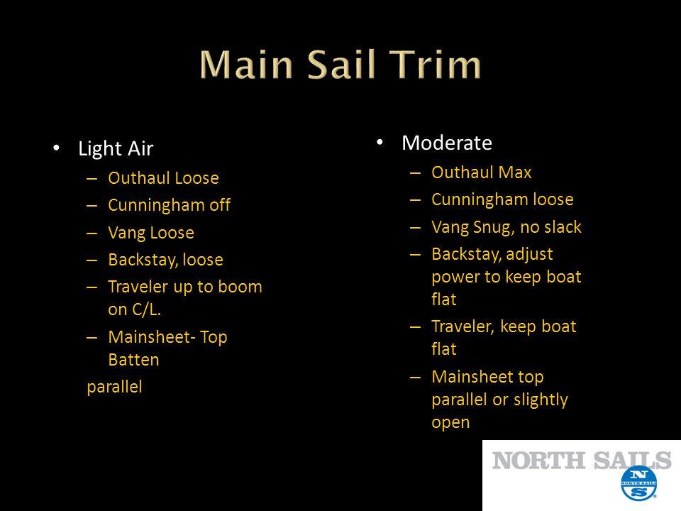 Main Sail Trim Moderate Light Air Outhaul Max Outhaul Loose