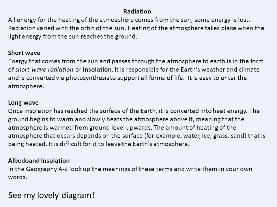 See my lovely diagram! Radiation