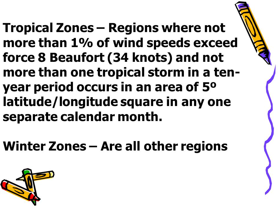 Tropical Zones – Regions where not more than 1% of wind speeds exceed force 8 Beaufort (34 knots) and not more than one tropical storm in a ten-year period occurs in an area of 5º