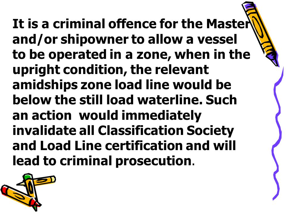 It is a criminal offence for the Master and/or shipowner to allow a vessel to be operated in a zone, when in the upright condition, the relevant amidships zone load line would be below the still load waterline.