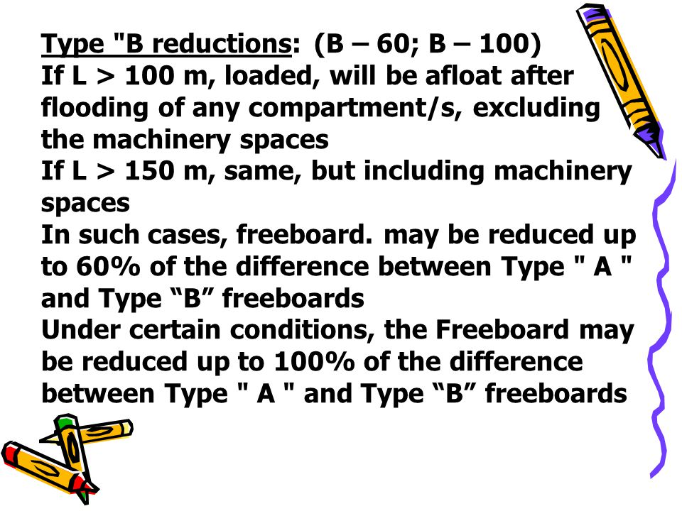 Type B reductions: (B – 60; B – 100)