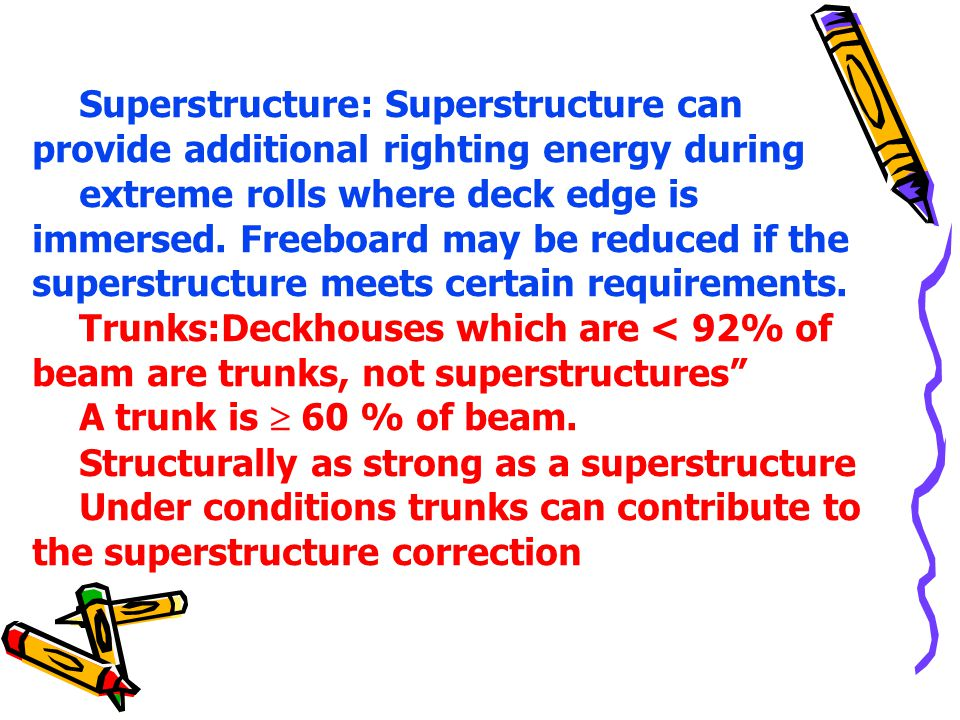 Superstructure: Superstructure can provide additional righting energy during