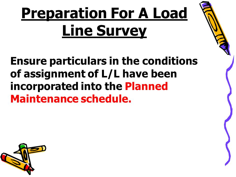 Preparation For A Load Line Survey