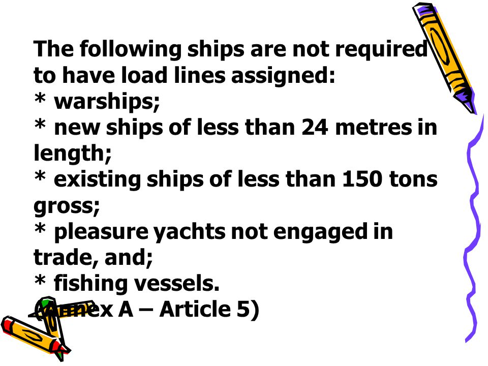 The following ships are not required to have load lines assigned: