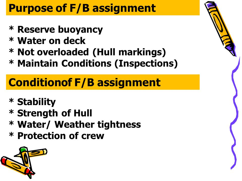 Purpose of F/B assignment