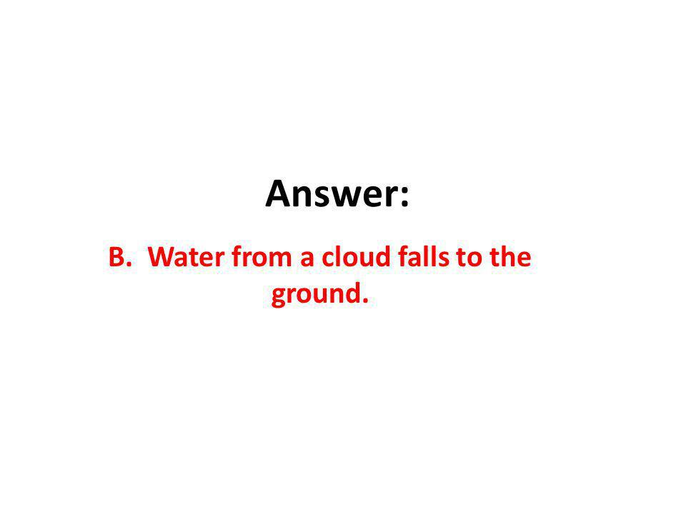 B. Water from a cloud falls to the ground.