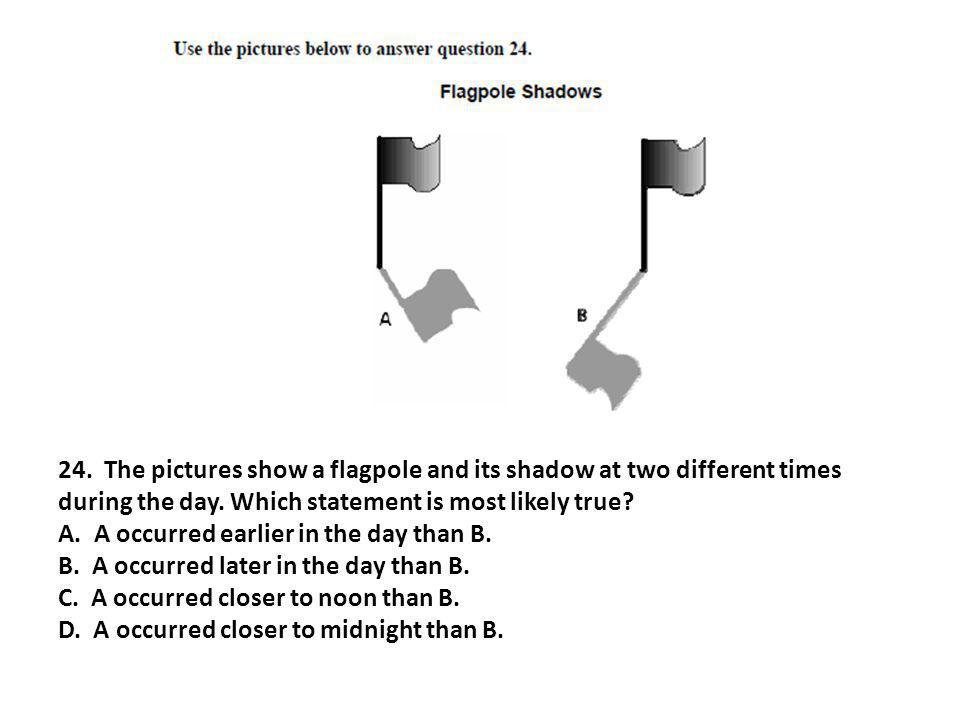 24. The pictures show a flagpole and its shadow at two different times during the day. Which statement is most likely true