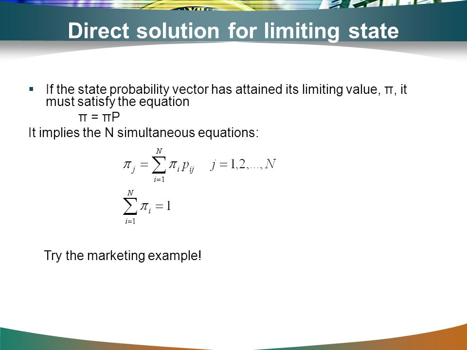 Direct solution for limiting state probabilities