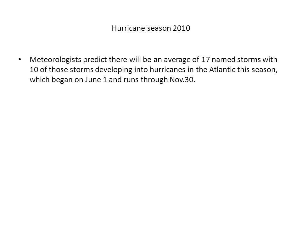 Hurricane season 2010