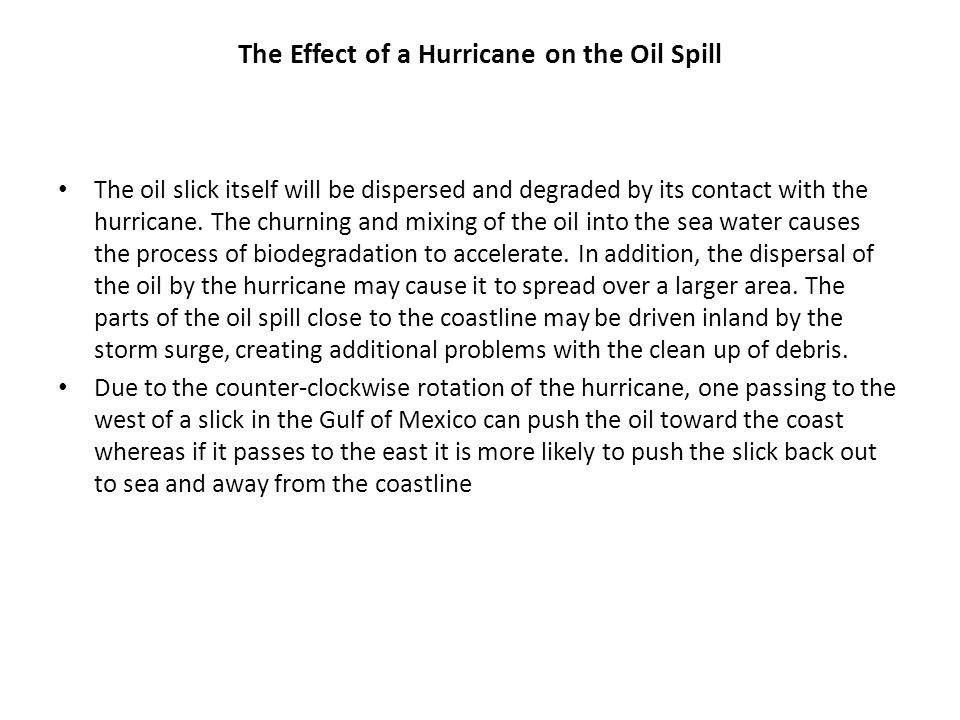 The Effect of a Hurricane on the Oil Spill