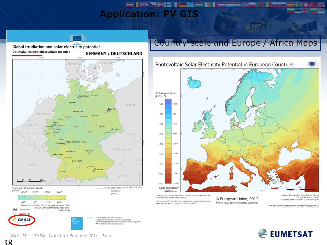 Application: PV GIS Country-scale and Europe / Africa Maps