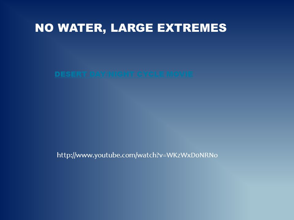 No Water, large extremes Desert day/night cycle movie