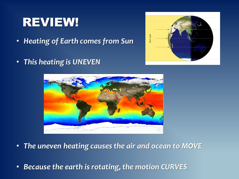 Review! Heating of Earth comes from Sun This heating is UNEVEN