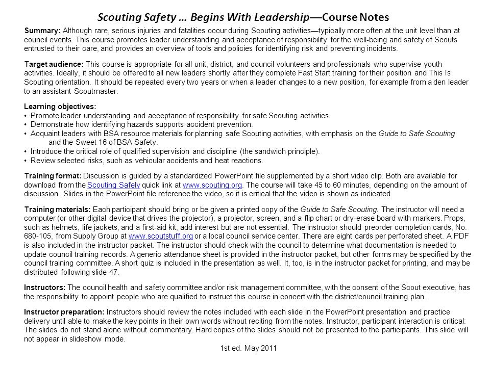 Scouting Safety … Begins With Leadership—Course Notes