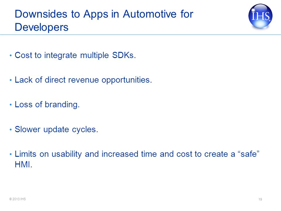 Downsides to Apps in Automotive for Developers