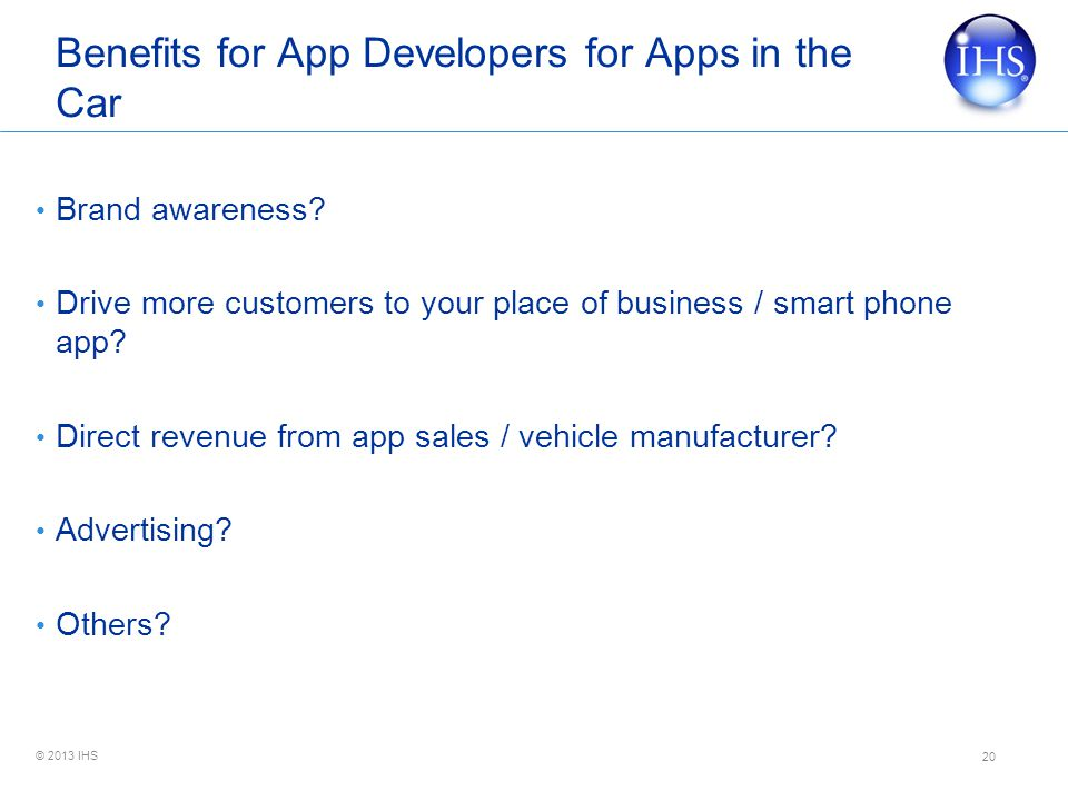 Benefits for App Developers for Apps in the Car