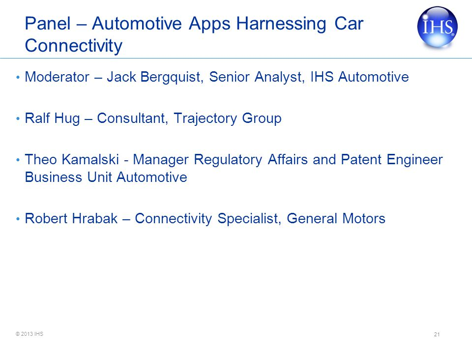 Panel – Automotive Apps Harnessing Car Connectivity